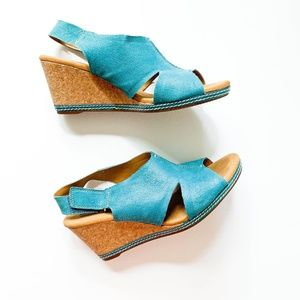 Clarks Blue Nubuck Cork Wedge Sandals